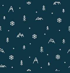 winter mountain seamless pattern christmas snow vector image vector image