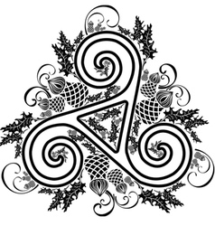 black and white image Celtic triad with flowers of vector image vector image