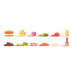 burger elements set retro cartoon style vector image