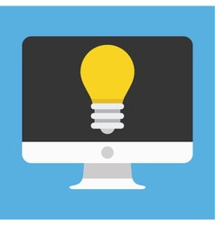 Computer Display and Light Bulb Icon vector image vector image