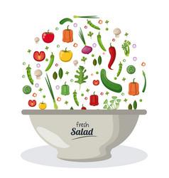 fresh salad bowl dish menu food natural image vector image