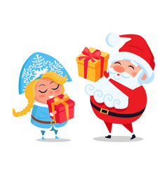 santa claus and snow maiden decor present boxes vector image vector image