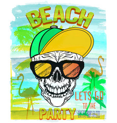skull summer and beach vector image vector image