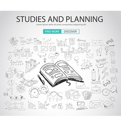 Studies and Planning concept with Doodle design vector image