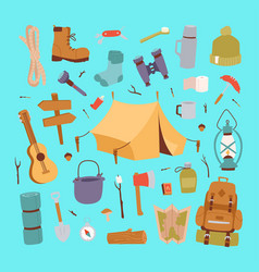 camping stickers in hand drawn style vector image