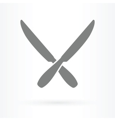 crossed knife icon vector image vector image