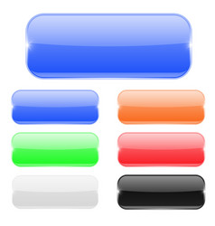 glass rectangle buttons colored set vector image