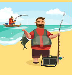 Happy fisherman stands and holds in hand fishing vector
