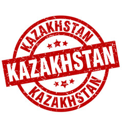 kazakhstan red round grunge stamp vector image vector image