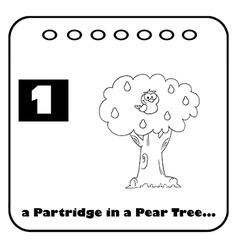 Patridge in a pear tree cartoon vector image