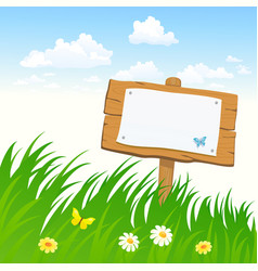 signboard in the grass vector image