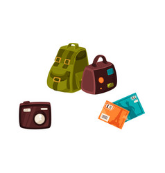Travel bags digital camera and travel postcards vector