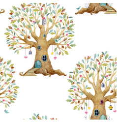 watercolor tree house pattern vector image vector image