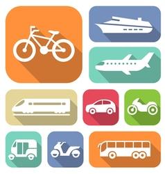 White travel transport flat icons set vector image