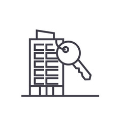 apartment house with key line icon sign vector image