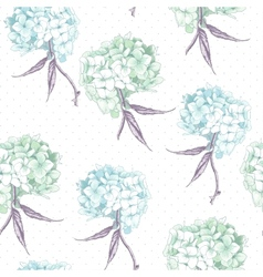 Beautiful Blue Hydrangea Seamless Background vector image