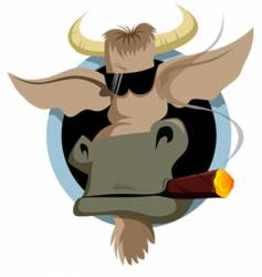 bull and cigar vector image vector image