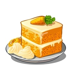 Delicious slice of carrot cake on plate vector image