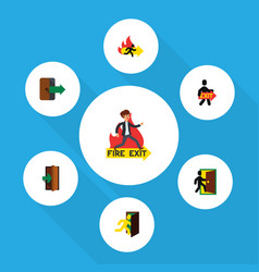 flat icon emergency set of exit evacuation fire vector image vector image