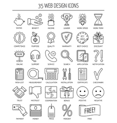 35 linear web icons Line icons for business web vector
