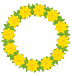 A wreath of flowers on a white background vector