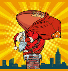 american football ball santa claus with gifts vector image