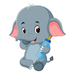 Baby elephant with milk bottle vector