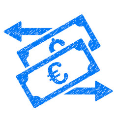 Banknotes exchange grunge icon vector