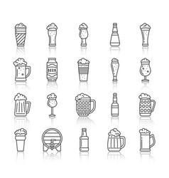 Beer mug simple black line icons set vector