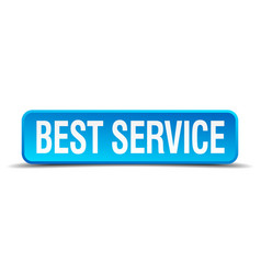 Best service blue 3d realistic square isolated vector
