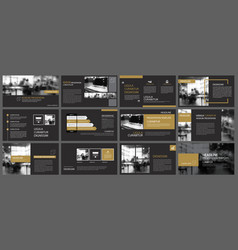 Black gold presentation templates and vector