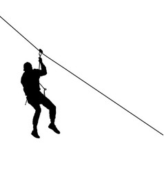 Black silhouette extreme rope descent attraction vector