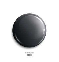 blank black glossy badge vector image