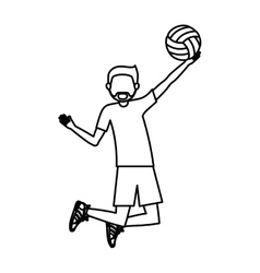 Boy playing volleyball design vector