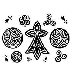 breton and celtic triskels symbols set vector image