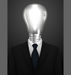 business concept businessman with a lamp head vector image