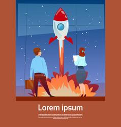 Business people looking at flying rocket teamwork vector