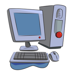 cartoon image of computer icon pc symbol vector image
