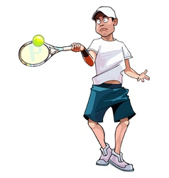 cartoon man playing tennis vector image