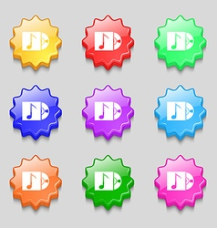 Cd player icon sign symbols on nine wavy colourful vector