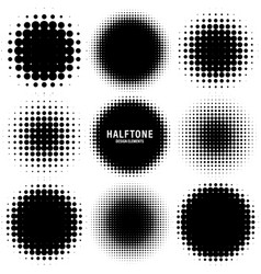 Circle halftone design elements with black dots vector