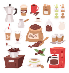 Coffee drink cartoon pot devices and morning vector