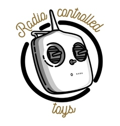 Color vintage radio controlled toys emblem vector