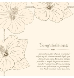 congratulations card design template with hibiscus vector image