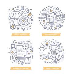 Content marketing doodle vector