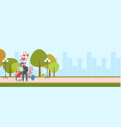 couple sitting wooden bench city urban park happy vector image
