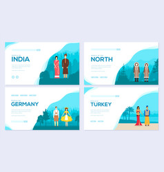 couples from different countries of the world vector image