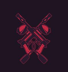 crossed paintball guns on dark vector image