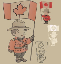 cute cartoon canadian Mounties with a flag of vector image
