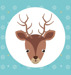 cute reindeer head tender character vector image